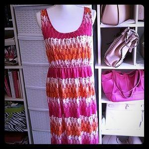 Sonoma pink/orange/white dress Size M